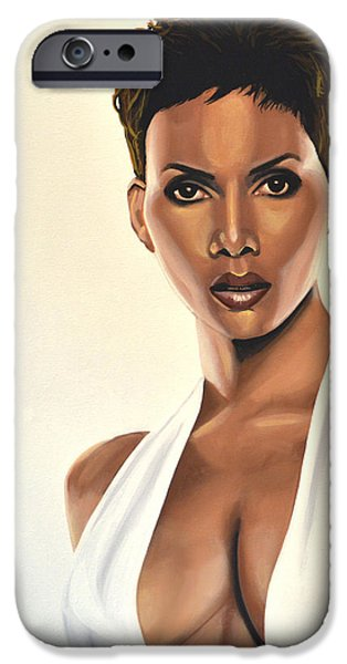 Celebrities Art iPhone Cases - Halle Berry iPhone Case by Paul Meijering