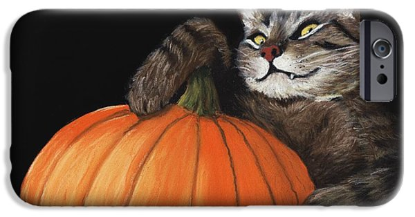 Animal Cards Pastels iPhone Cases - Halloween Cat iPhone Case by Anastasiya Malakhova