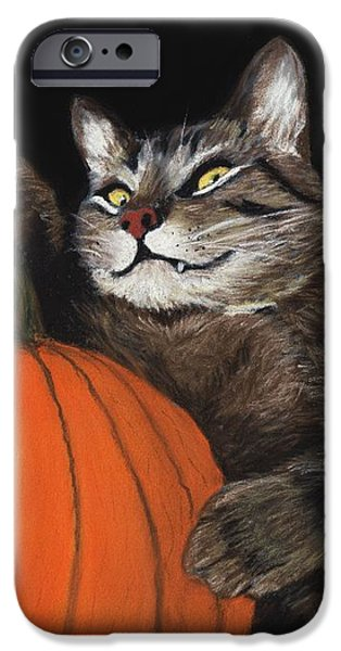 Night iPhone Cases - Halloween Cat iPhone Case by Anastasiya Malakhova