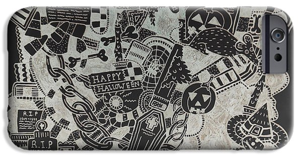Tomb Drawings iPhone Cases - Halloween iPhone Case by Chelsea Geldean