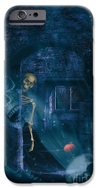Head Stone iPhone Cases - Halloween Double Exposure iPhone Case by Amanda And Christopher Elwell