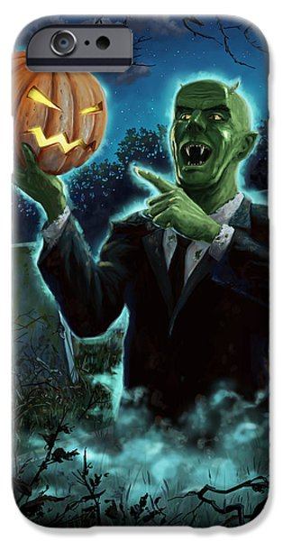 Ghoul iPhone Cases - Halloween Ghoul rising from Grave with pumpkin iPhone Case by Martin Davey
