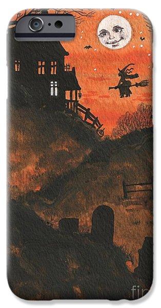 Haunted House Paintings iPhone Cases - Halloween Hamlet iPhone Case by Margaryta Yermolayeva