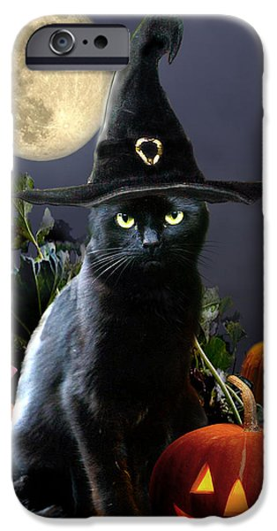 Witches iPhone Cases - Witchy black Halloween Cat iPhone Case by Gina Femrite