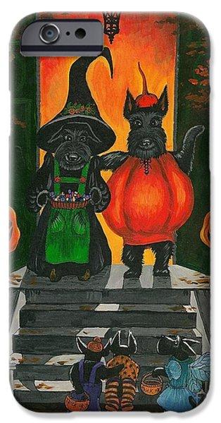 Scottish Terrier Puppy iPhone Cases - Halloween MacDuff iPhone Case by Margaryta Yermolayeva