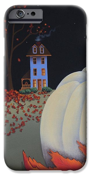 Catherine White Paintings iPhone Cases - Halloween on Pumpkin Hill iPhone Case by Catherine Holman