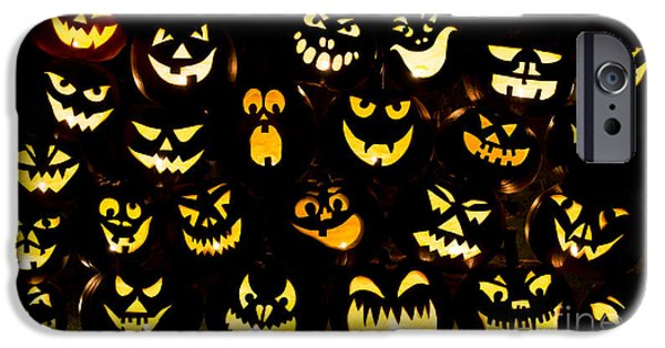Creepy iPhone Cases - Halloween pumpkin faces iPhone Case by Tim Gainey