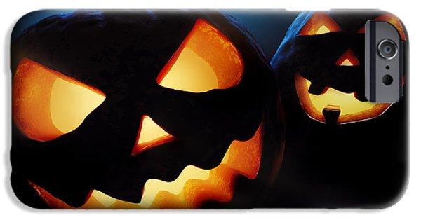 Eerie iPhone Cases - Halloween pumpkins closeup -  jack olantern iPhone Case by Johan Swanepoel