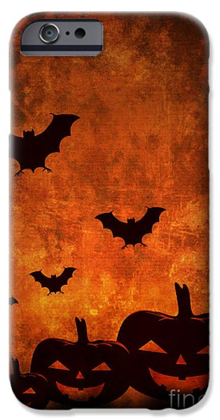 Bat Pyrography iPhone Cases - Halloween Pumpkins iPhone Case by Jelena Jovanovic