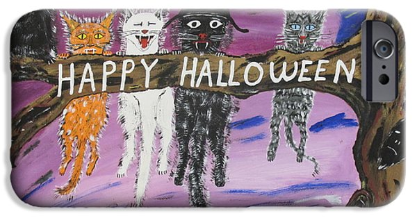 Recently Sold -  - Gray Hair iPhone Cases - Halloween Scaredy Cats iPhone Case by Jeffrey Koss