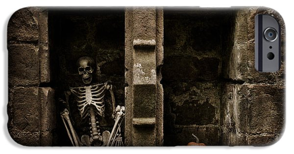 Head Stone iPhone Cases - Halloween Skeleton iPhone Case by Amanda And Christopher Elwell