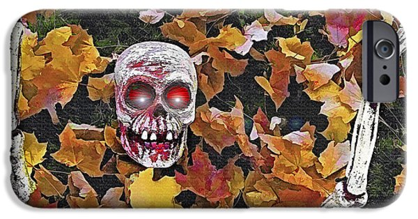 Cemetary Mixed Media iPhone Cases - Halloween Skeleton iPhone Case by Steve Ohlsen