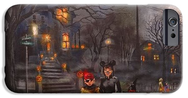 Haunted House iPhone Cases - Halloween Trick or Treat iPhone Case by Tom Shropshire