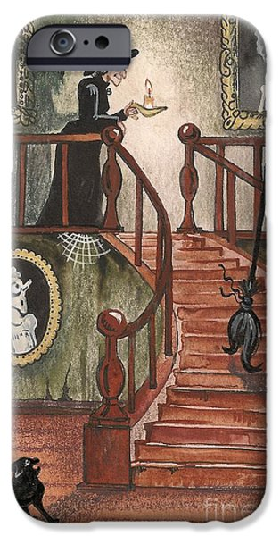 Witch Halloween Cat Wicca Paintings iPhone Cases - Halloween Witch iPhone Case by Margaryta Yermolayeva
