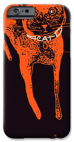 Printmaking iPhone Cases - Halloweens Orange Cat iPhone Case by Cathy Peterson