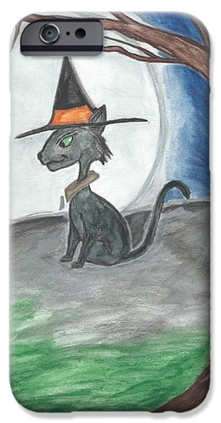 Witch Halloween Cat Wicca iPhone Cases - Hallows Guard  iPhone Case by Priscilla Hale
