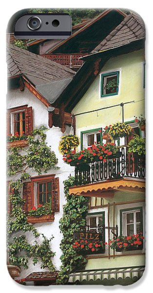 City Scape Pastels iPhone Cases - Hallstatt iPhone Case by Michelle Morris