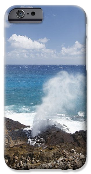 Halona Blowhole iPhone Case by Brandon Tabiolo