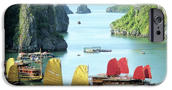 Boat iPhone Cases - Halong Bay Sails 01 iPhone Case by Rick Piper Photography