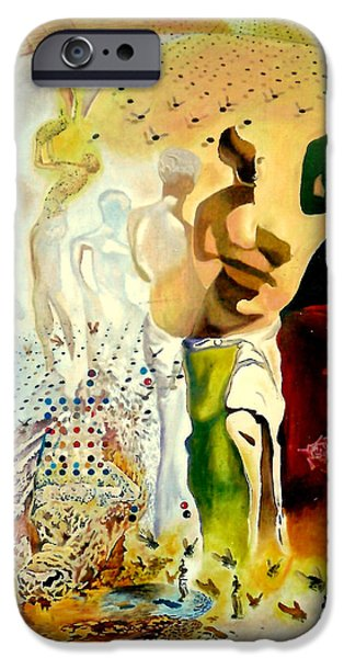 Nike Paintings iPhone Cases - Halucinogenic Toreador by Salvador Dali iPhone Case by Henryk Gorecki