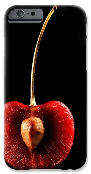 Halved Red Cherry iPhone Case by Johan Swanepoel