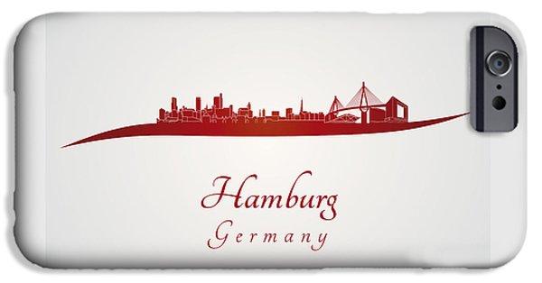 Hamburg Digital iPhone Cases - Hamburg skyline in red iPhone Case by Pablo Romero
