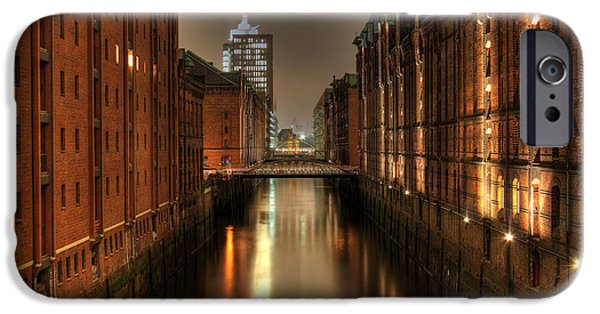 Architektur Drawings iPhone Cases - Hamburg Speicherstadt bei Nacht iPhone Case by George Inness