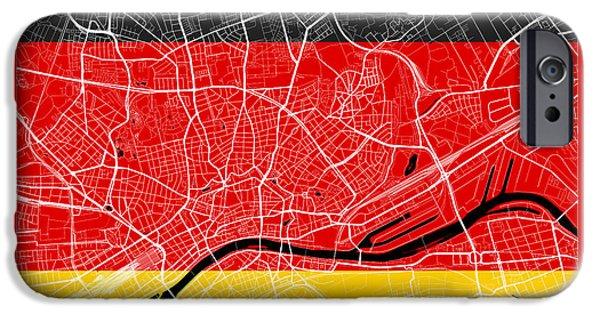 Flag iPhone Cases - Hamburg Street Map - Hamburg Germany Road Map Art on Flag iPhone Case by Jurq Studio