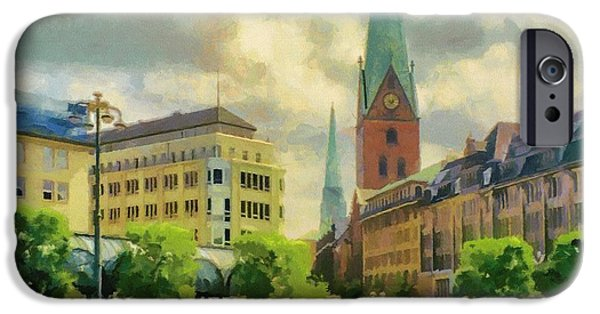 Hamburg Digital iPhone Cases - Hamburg Street Scene iPhone Case by Jeff Kolker