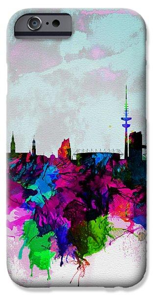 Hamburg Digital iPhone Cases - Hamburg Watercolor Skyline iPhone Case by Naxart Studio