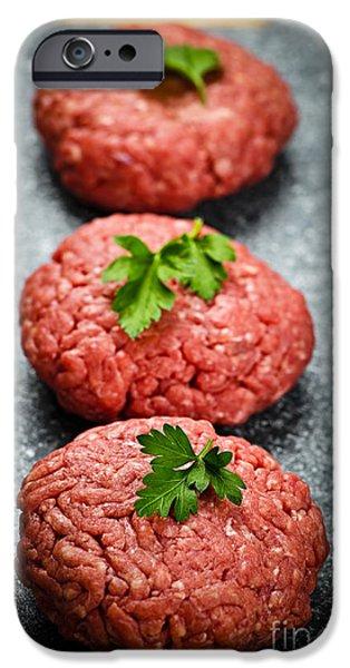 Protein iPhone Cases - Hamburger patties iPhone Case by Elena Elisseeva