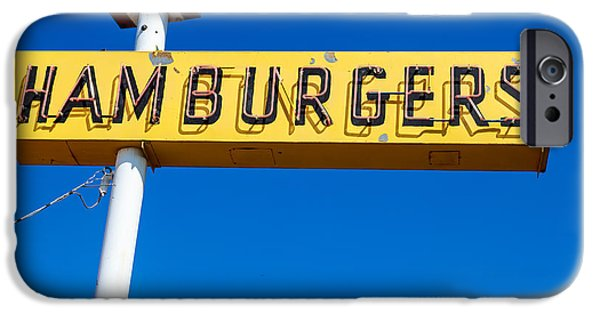 Fast Food iPhone Cases - Hamburgers Old Neon Sign iPhone Case by Edward Fielding