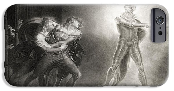 Eerie iPhone Cases - Hamlet, Act I, Scene Iv, By William Shakespeare 1564-1616 Engraved By Robert Thew 1758-1802 Litho iPhone Case by Henry Fuseli