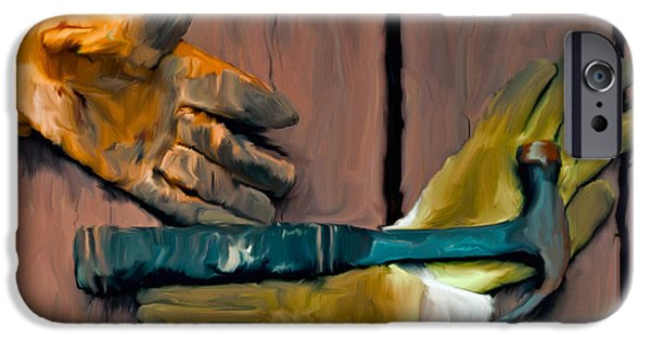Hammer Paintings iPhone Cases - Hammer and Gloves iPhone Case by Ted Guhl