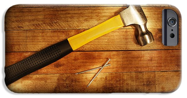 Work Tool Photographs iPhone Cases - Hammer and nails iPhone Case by Les Cunliffe