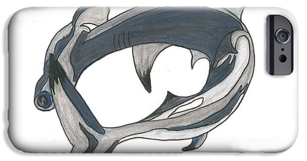 Shark Drawings iPhone Cases - Hammer Head Shark iPhone Case by Cherie Sexsmith