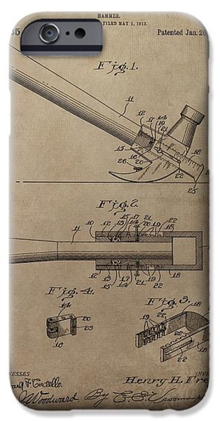 Slam Mixed Media iPhone Cases - Hammer Patent Drawing iPhone Case by Dan Sproul