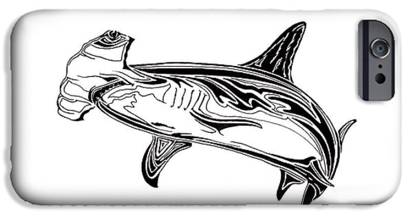 Shark Drawings iPhone Cases - Hammerhead Shark iPhone Case by Anne-Marie Savino