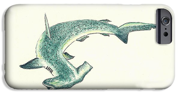 Sharks Paintings iPhone Cases - Hammerhead Shark iPhone Case by Michael Vigliotti