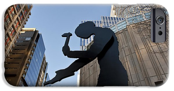 Local Attraction iPhone Cases - Hammering Man. Downtown, Seattle iPhone Case by Jim Corwin