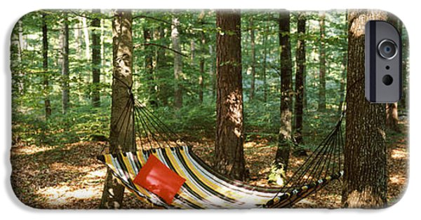 Getting Away From It All iPhone Cases - Hammock In A Forest, Baden-wurttemberg iPhone Case by Panoramic Images
