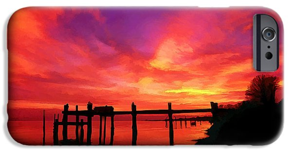 Old Digital Art iPhone Cases - Hampton Roads Sunset iPhone Case by Bill Caldwell -        ABeautifulSky Photography