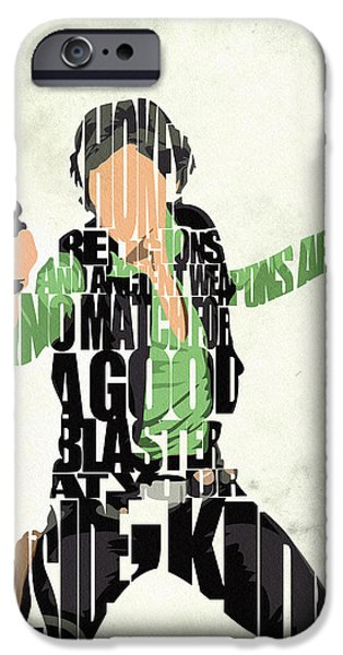 Wall Art Digital Art iPhone Cases - Han Solo from Star Wars iPhone Case by Ayse Deniz