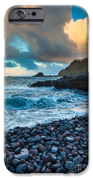 Drama iPhone Cases - Hana Bay Pebble Beach iPhone Case by Inge Johnsson