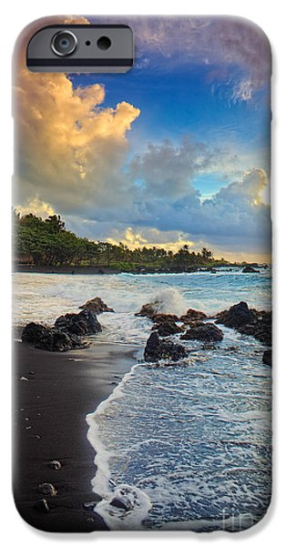 Wavy iPhone Cases - Hana Clouds iPhone Case by Inge Johnsson