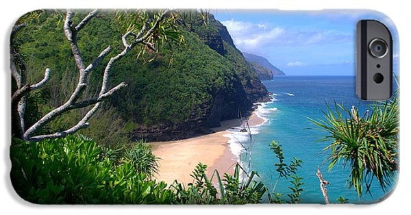 Valley iPhone Cases - Hanakapiai Beach iPhone Case by Brian Harig