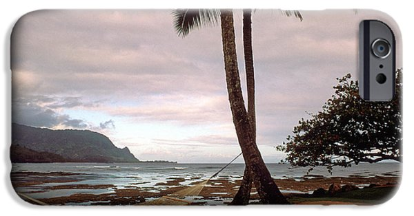 Beach Landscape iPhone Cases - Hanalei Bay Hammock at Dawn iPhone Case by Kathy Yates