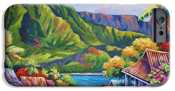 Tropical Paintings iPhone Cases - Hanalei in Bloom iPhone Case by John Clark