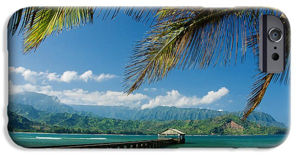 Bay Photographs iPhone Cases - Hanalei Pier and beach iPhone Case by M Swiet Productions