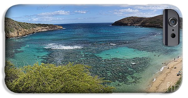 Beach Landscape iPhone Cases - Hanauma Bay Panorama iPhone Case by David Smith